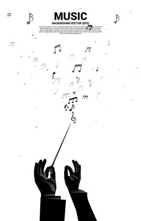 Vector silhouette of conductor hand hold baton stick with flying music note . Concept background for orchestra concert and recreation. Vettoriali