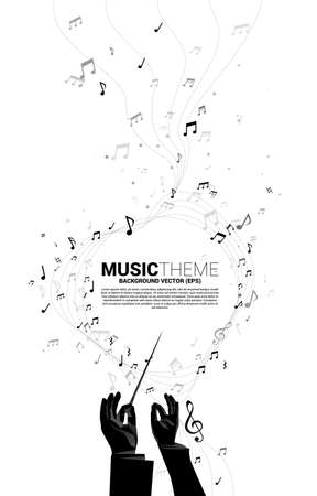 Vector silhouette of conductor hand with music melody note dancing flow . Concept background for classic music concert and recreation.