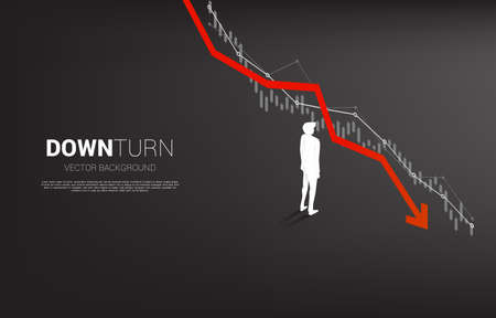silhouette of businessman standing downturn graph. Concept for fail and accidental business