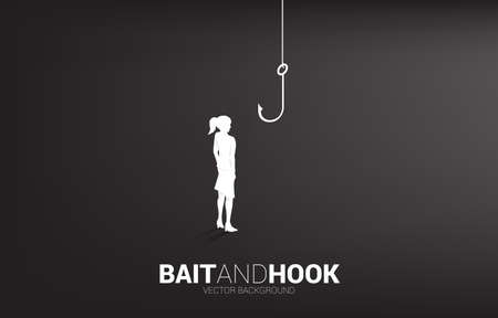 Silhouette of businesswoman standing with fishing hook. Concept of bait and hook in business.