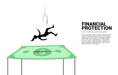 Silhouette of businesswoman falling down on dollar banknote.Concept for Insurance and financial protection