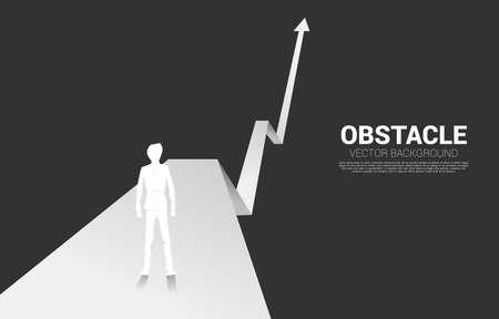 Silhouette of businessman ready to run from start line on growing graph. Concept of people ready to start career and business 向量圖像