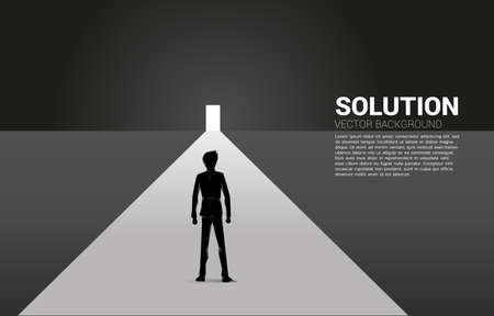 Silhouette of businessman standing in front of exit door. Concept of career start up and business solution. 向量圖像