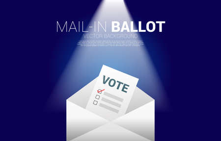 vote paper put in envelope. concept for mail in election vote theme background.