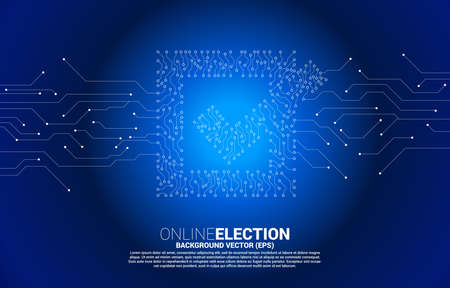 Check box icon from dot connect line circuit board style. concept for election vote theme background. 向量圖像