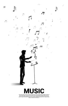 Vector silhouette of conductor standing with flying music note . Concept background for orchestra concert and recreation. 向量圖像