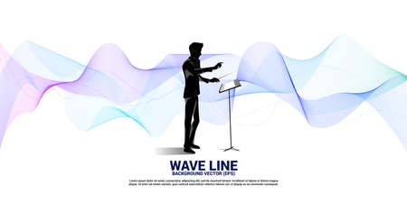 Vector silhouette of conductor standing with sound wave . Concept background for orchestra concert and recreation.