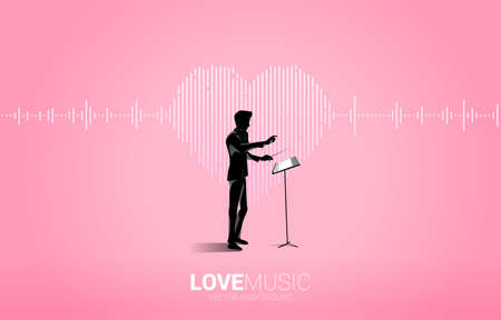 Vector silhouette of conductor with Sound wave heart icon Music Equalizer background. love song music visual signal