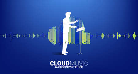 Vector silhouette of conductor standing with Cloud music and sound technology concept .equalizer wave as cloud shape