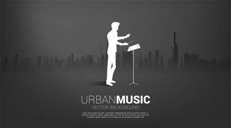 Vector silhouette of conductor standing with city background. Concept for city of music.