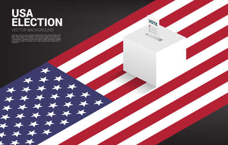 vote paper put in election box with USA map background. concept for election vote theme background.