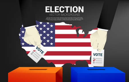 close up two businessman hand put his vote to the red and blue election box with USA map background. concept for election vote theme background.