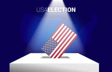USA flag put in election box. concept for America election vote theme background.