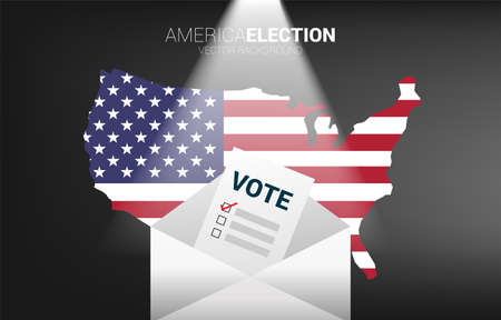 vote paper put in envelope with USA map background. concept for America mail in election vote theme background.