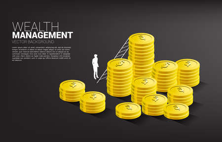 Silhouette of businessman standing with stack of coin and ladder. Concept of success investment and growth in business