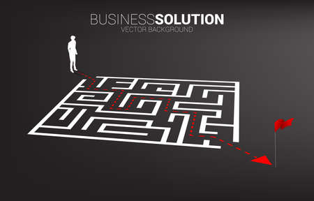 Silhouette of businessman with route path to exit the maze. Business concept for problem solving and finding idea.