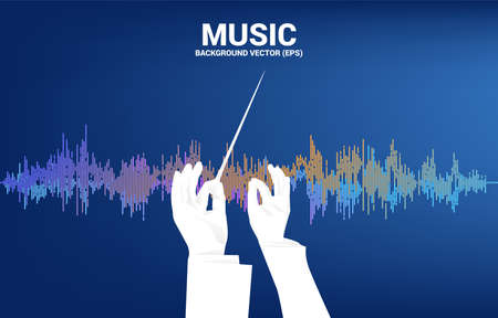 Vector silhouette of conductor hand with Sound wave Music Equalizer background. Concept background for classic music concert and recreation.