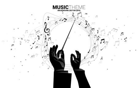 Vector template banner and poster Conductor hand with music melody note dancing flow . Concept background for song and concert theme.