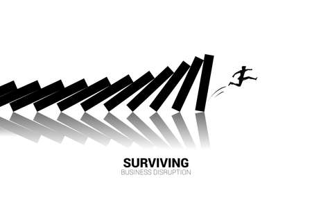 Silhouette of businessman jump away from domino collapse. Concept of business industry disrupt