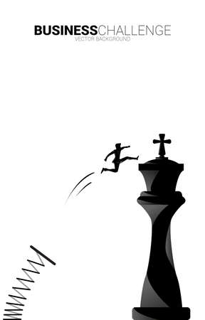Silhouette of businessman jumping with spring board to chess piece king. Concept of Goal, Mission and business strategy