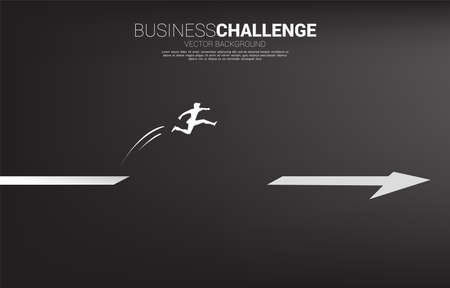 Silhouette of businessman jumping across the gap on arrow. Concept of people ready to start career and business