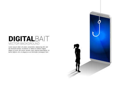 Silhouette of businesswoman standing with fishing hook in mobile phone. Concept of digital scam and fraud in business. 向量圖像