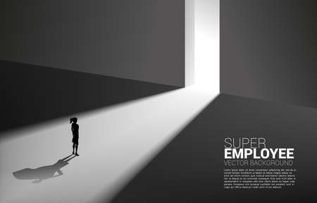 Silhouette of businesswoman and his shadow of superhero from light of exit way.concept of empower potential and human resource management 向量圖像