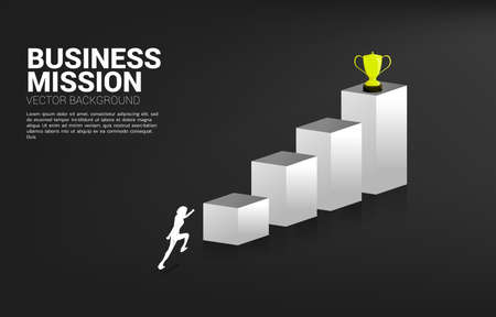 Silhouette businessman running to get trophy on top of graph. Business Concept of goal and vision mission