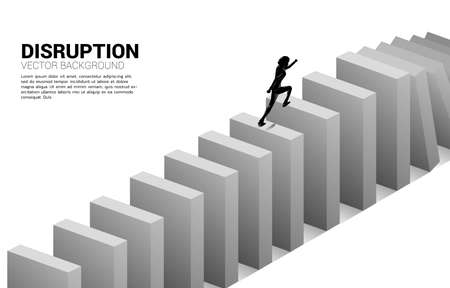 surviving business disruption. Silhouette of businessman running to domino collapse. Concept of business industry disrupt