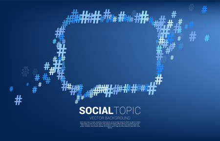 Speech bubble from small hash flow background .concept for social media topic and news.