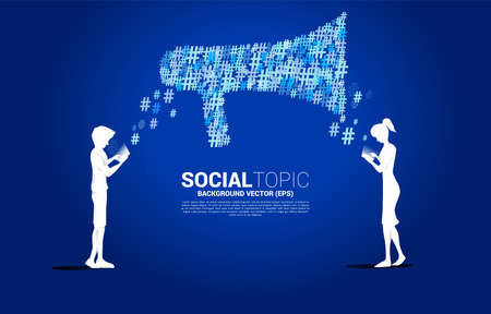 Silhouette of man and woman use mobile phone with Big Megaphone from small hash flow background .concept for social media topic and news. 向量圖像