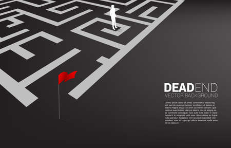 Silhouette of businessman at dead end of maze. Business concept for problem and wrong decision.
