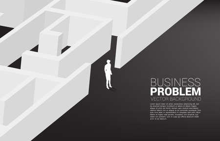 Silhouette of businessman find the way out from maze. business concept for finding solution and reach goal 向量圖像
