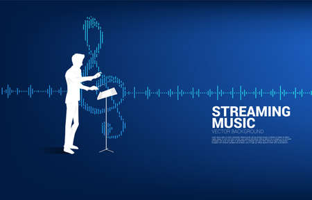 Music conductor with equalizer wave as music note. Concept background for orchestra concert and recreation.
