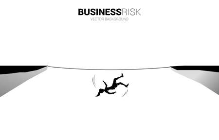 Silhouette of businesswoman falling down from rope walk way.Concept for business risk and fail