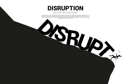 silhouette of businesswoman falling down from the cliff by disruption collapse. Concept for crisis from business disruption Illustration