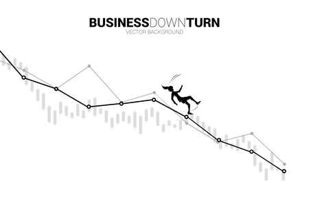 silhouette of businesswoman slip and falling down from downturn graph. Concept for fail and accidental business 向量圖像