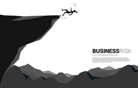silhouette of businesswoman slip and falling down from the cliff. Concept for fail and accidental business