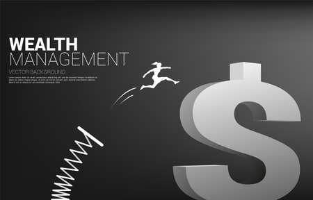 Silhouette of businesswoman jump to money dollar icon with springboard. Concept of boost and growth in business.