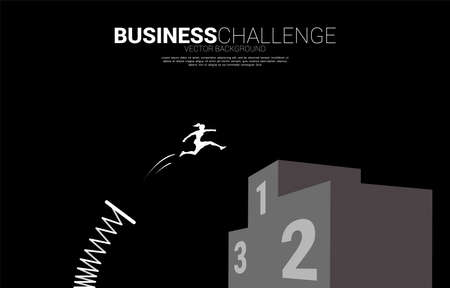 Silhouette of businesswoman jump to top of champion podium with springboard. Concept of boost and move forward in business. Ilustrace