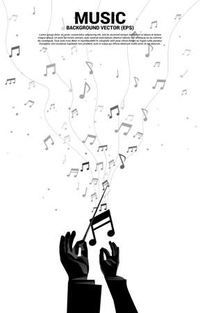 Vector conductor hand with music melody note dancing flow . Concept background for song and concert theme.