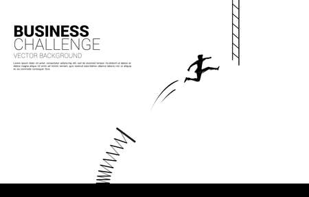 silhouette of businessman jump to ladder with spring board. Concept of vision mission and goal of business Ilustração