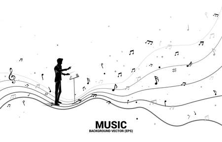 Vector silhouette of conductor with dancing flow shape music note . Concept background music for kid and children. Illustration