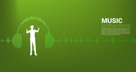 Vector silhouette of conductor standing with headphone Music Equalizer background. Concept background for classic music concert and recreation.