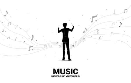 Vector silhouette of conductor standing with flying music note . Concept background for orchestra concert and recreation.