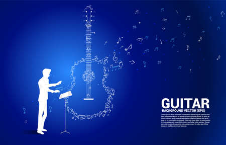 vector conductor and music melody note dancing flow shape guitar icon . Concept background for song and guitar concert theme.