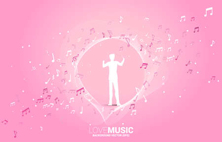 Vector silhouette of conductor standing with music melody note dancing flow . Concept background for classic music concert and recreation.