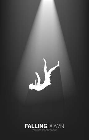 silhouette of businesswoman falling down in the spotlight. Concept for fail and accidental business Vector Illustratie