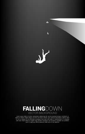silhouette of businesswoman falling down from the cliff. Concept for fail and accidental business Vektoros illusztráció