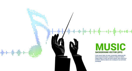 Vector conductor hand with Music and sound technology concept .equalizer wave as music note Ilustración de vector